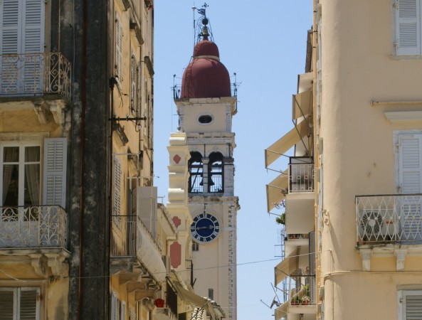Bell tower of the Church of St. Spyridon in Corfu, Greece