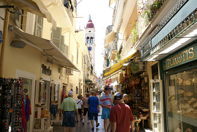Crowded street in Corfu