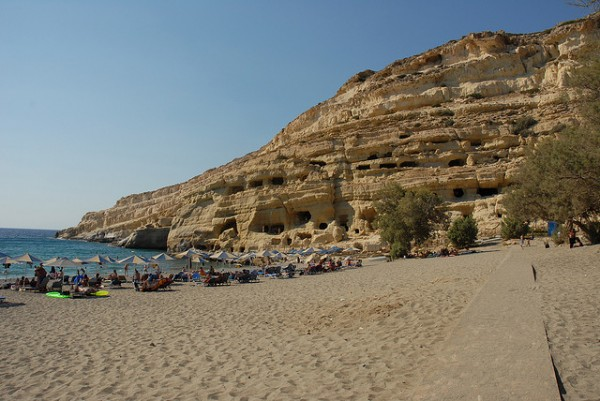 The Matala Beach in Crete