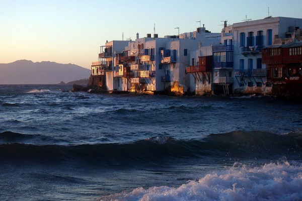 Little Venice in Mykonos at sunset
