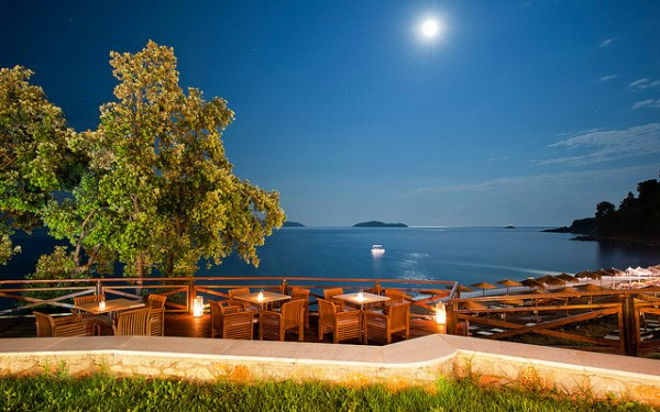 Vasilias Beach in Skiathos as seen at night from Kassandra Bay