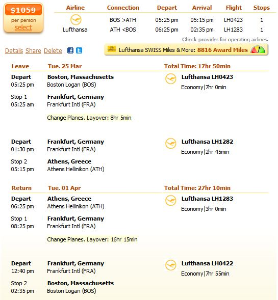 Lufthansa flight from Boston to Athens details